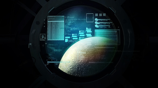 Virtual flight calculations on the background of the moon in the porthole d render