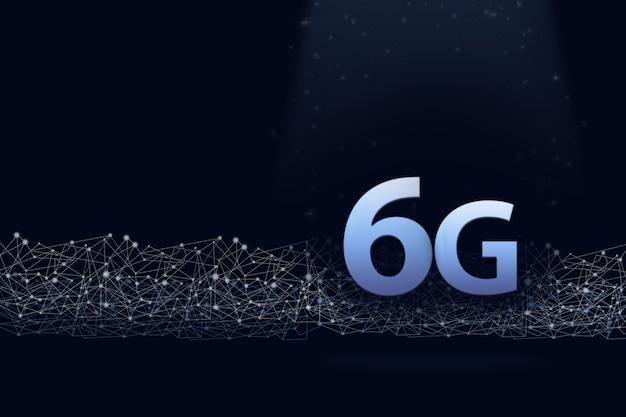 Виртуальная голограмма 6g и цифровая линия на синем фоне