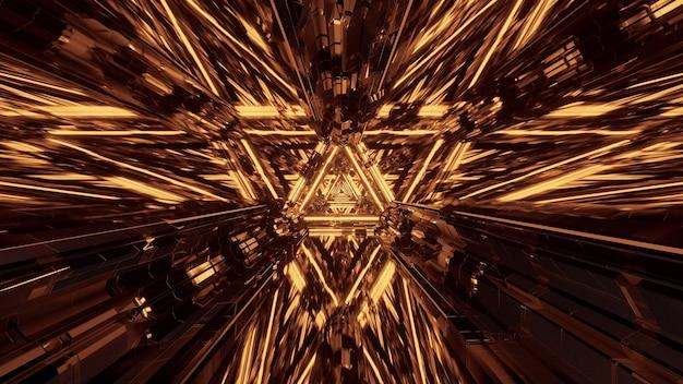 Proiezione virtuale di luci che formano schemi triangolari e fluiscono in avanti