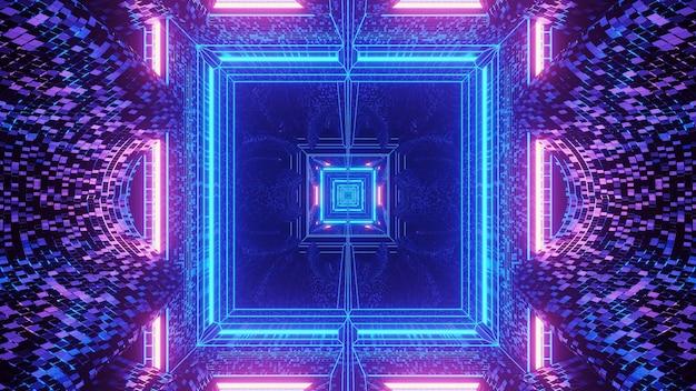 어두운 배경 뒤에 사각형 패턴을 형성하는 조명의 가상 투영