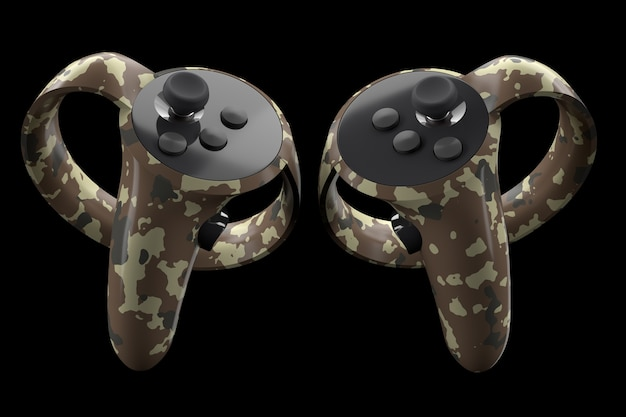Контроллеры виртуальной реальности для онлайн и облачных игр, изолированные на черном