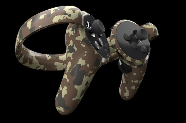 Virtual reality controllers for online and cloud gaming isolated on black with clipping path. 3d rendering of device for augmented reality or vr