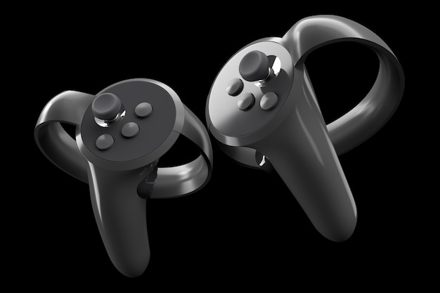 Virtual reality controllers for online and cloud gaming isolated on black