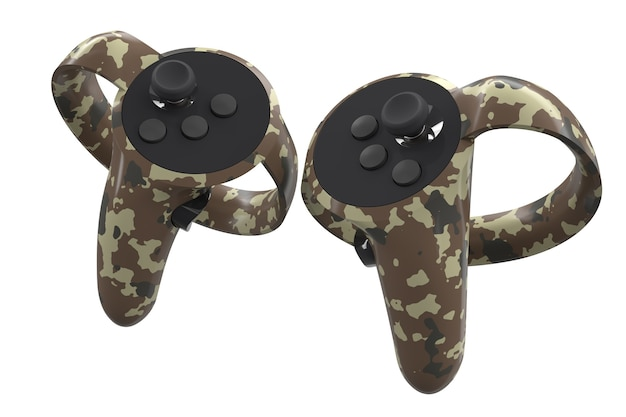 Virtual reality controllers for online and cloud gaming isolated on white
