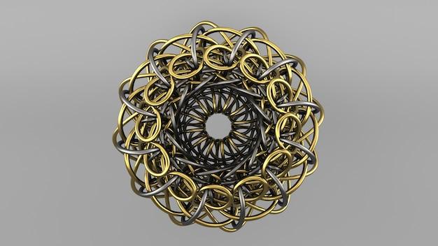 バーチャルリアリティ、デジタル背景。黄金の3d形状。サイエンスフィクションのイラスト