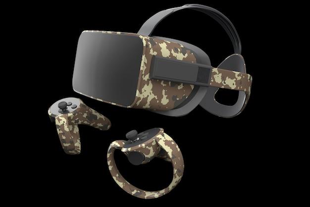 클리핑 패스를 사용하여 검정색으로 격리된 온라인 및 클라우드 게임용 가상 현실 안경 및 컨트롤러. 증강 현실의 가상 디자인 또는 vr의 가상 게임을 위한 장치의 3d 렌더링