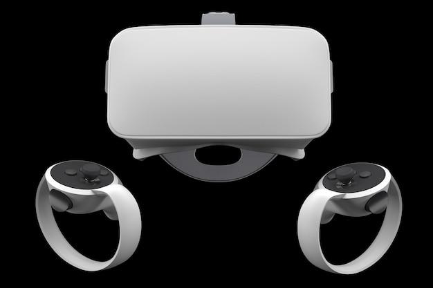 黒で隔離されたオンラインゲーム用のバーチャルリアリティメガネとコントローラー