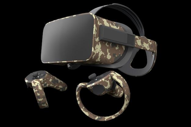 Очки и контроллеры виртуальной реальности для онлайн-игр, изолированные на черном