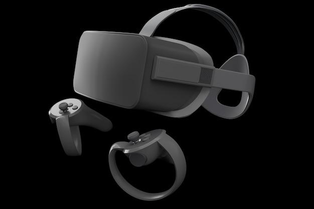 검정색으로 격리된 온라인 게임용 가상 현실 안경 및 컨트롤러