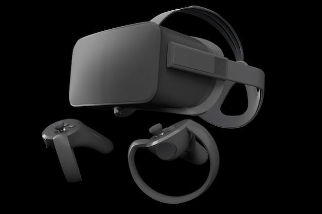 黒で分離されたオンラインゲーム用のバーチャルリアリティメガネとコントローラー