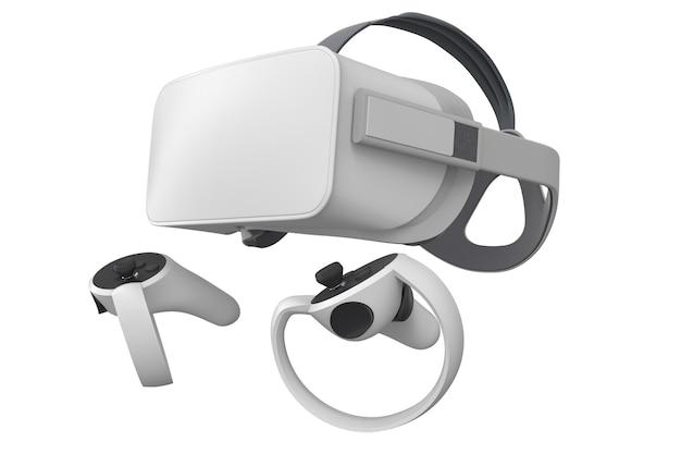 Очки и контроллеры виртуальной реальности для онлайн-игр, изолированные на белом