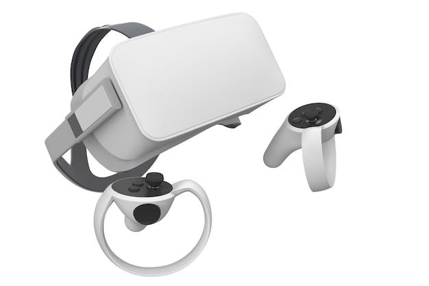 흰색으로 격리된 온라인 게임용 가상 현실 안경 및 컨트롤러