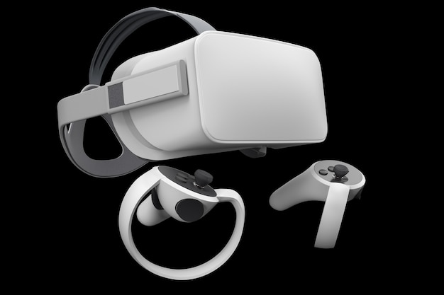 Virtual reality glasses and controllers for online gaming isolated on black