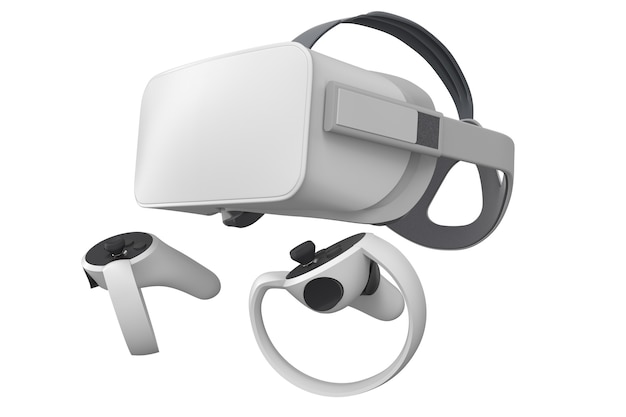 Virtual reality glasses and controllers for online gaming isolated on white