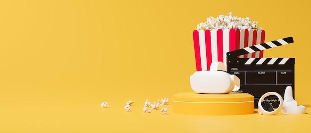 가상 현실 안경 조이스틱 영화 클래퍼 팝콘 노란색 배경의 텍스트를 위한 여유 공간