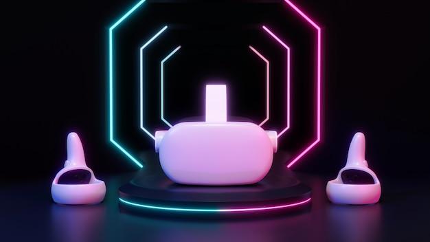 Очки виртуальной реальности vr гарнитура джойстики на неоновом свете подиум темный фон 3d рендеринг