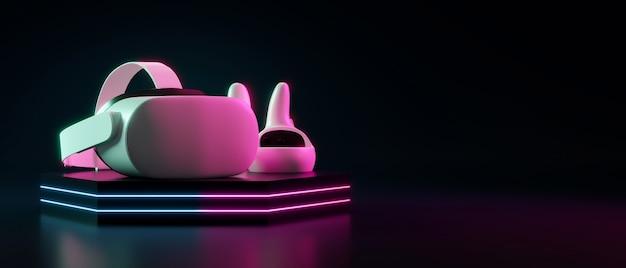 Гарнитура с очками виртуальной реальности с контроллерами неонового света на подиуме и изолирована на черном фоне