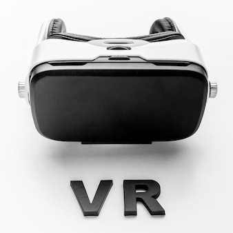 Virtual reality headset on desk
