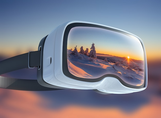 Virtual reality headset, double exposure. mysterious winter landscape majestic mountains