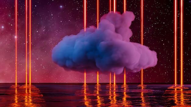 ネオンライトと雲のあるバーチャルリアリティの風景