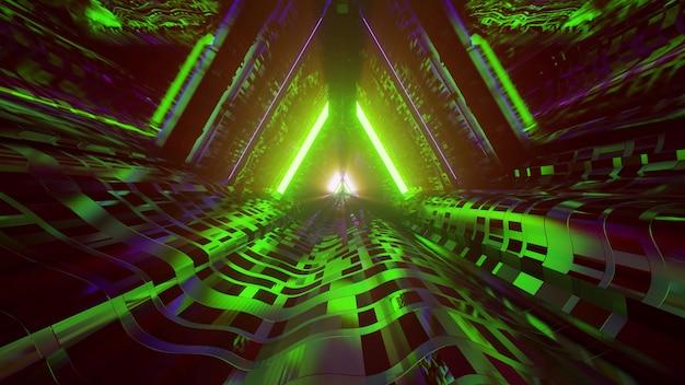 Virtual tunnel with neon lights 4k uhd 3d illustration