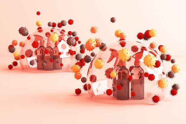 Virus being killed by spray, disinfectant solution, bottle spray surrounding by a lot of colorful virus in pink 3d rendering