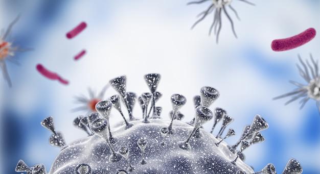 Вирусные клетки или молекула бактерий. грипп, вид вируса под микроскопом, инфекционное заболевание.