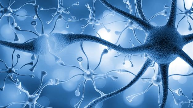 밝은 파란색 배경에 바이러스 세포 또는 박테리아