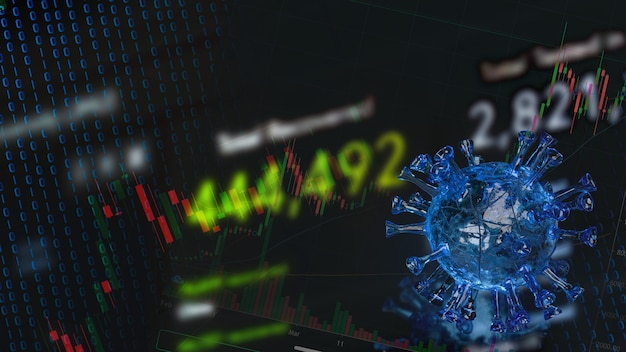 The virus and  chart for business  in outbreak concept  3d rendering