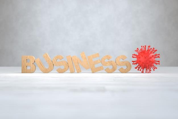 Вирус covid-19 разбивает деревянный текстовый бизнес, концепция бизнеса и финансов. 3d иллюстрации