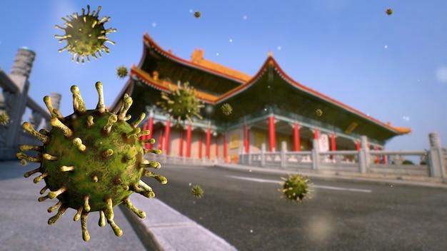 Virus covid 19 on national theater memorial hall of taipei city