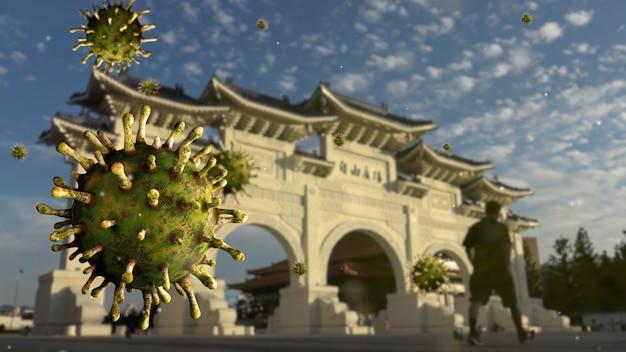 Вирус covid 19 в мемориальном зале города тайбэй