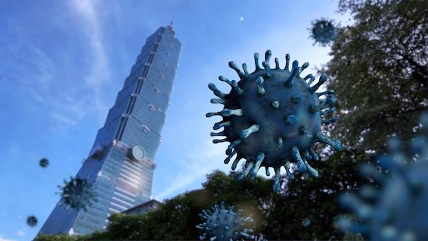 台北の中心都市にある素晴らしい超高層ビルの営業所にあるウイルスコビッド19