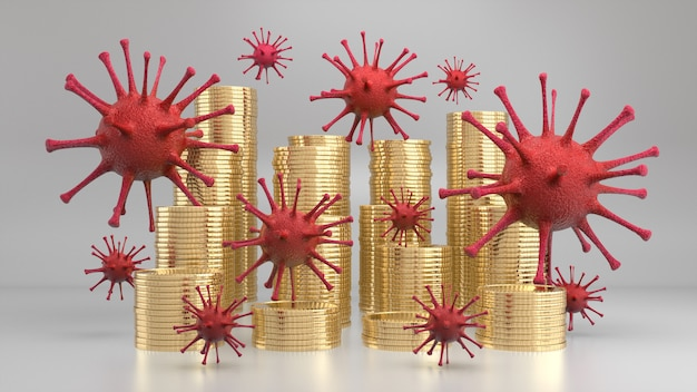 Virus floating above stack of golden coins