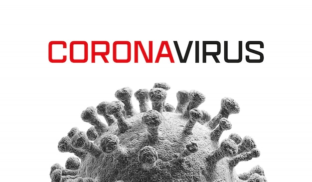 Virus isolated on white. close-up of coronavirus cells or bacteria molecule