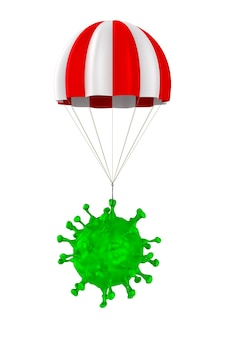 Вирус с парашютом на белом.