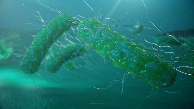 전염병을 일으키는 바이러스, 면역력 저하. 세포 감염 유기체. 추상 박테리아.