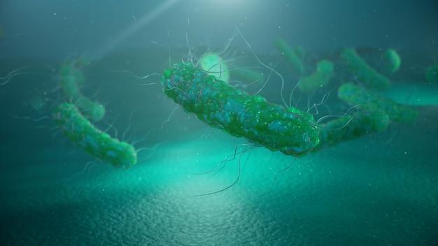전염병을 일으키는 바이러스, 면역력 저하. 세포 감염 유기체. 추상 박테리아. 프리미엄 사진