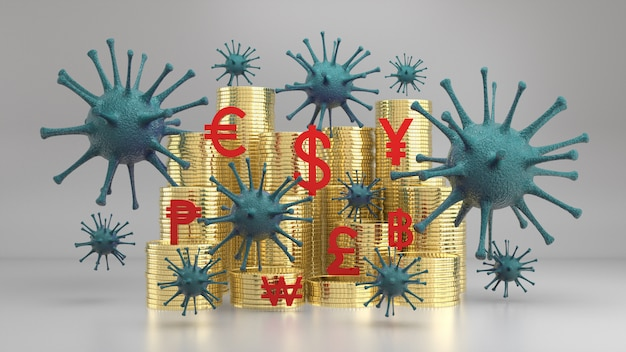 Viruses floating above stack of golden coins and currency icon