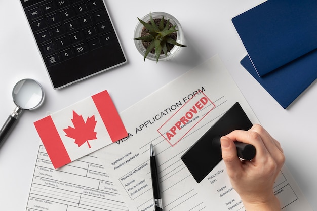 Visa application composition with canadian flag