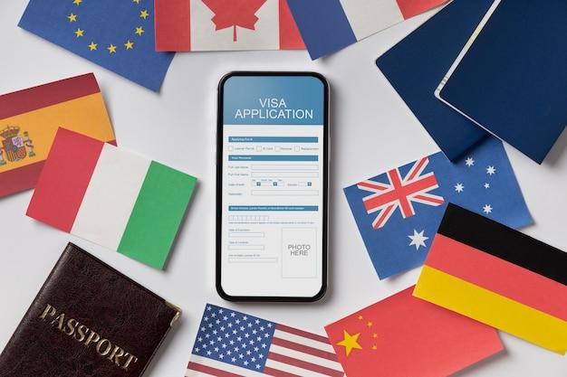 Composizione della domanda di visto con flag differenti