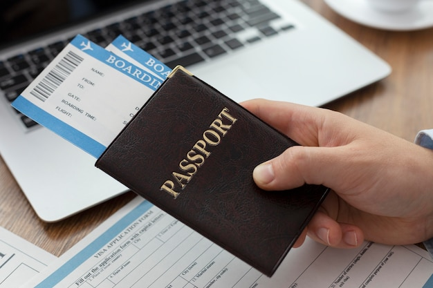Visa application composition with passport