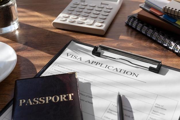 パスポート付きのビザ申請構成