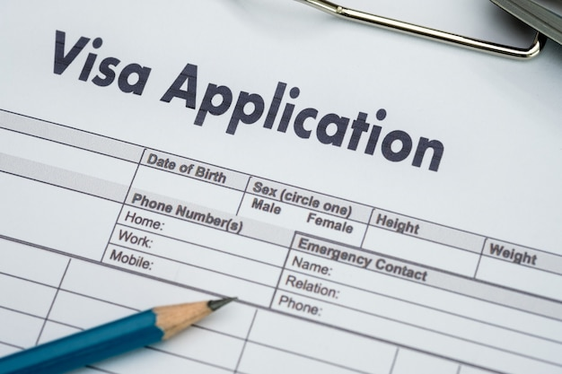 Visa application form to travel immigration a document money for passport map a