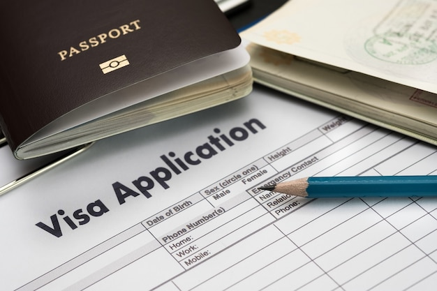 Visa application form to travel immigration document