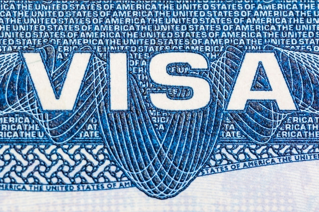 Visa document logo close up of the united states of america