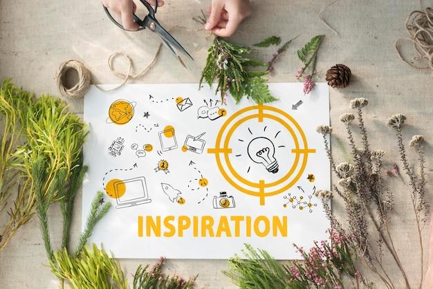 Visione pensando progresso invenzione design concept grafico