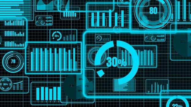 Бизнес-панель visionary для анализа финансовых данных Premium Фотографии