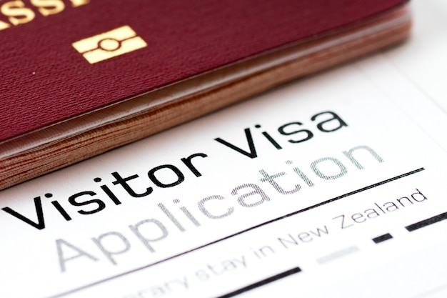 Visitor visa application form with passport