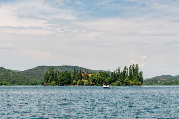 Visovac christian monastery on the island in the krka national park, dalmatia, croatia